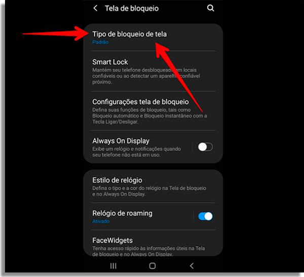 Configuração de bloqueio de tela no Android