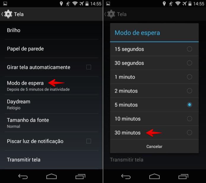 Tempo de bloqueio de tela no Android
